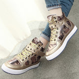 new womens crystal patent leather with glitter canvas high top causal shoes brand design lace up breathable flat shoes