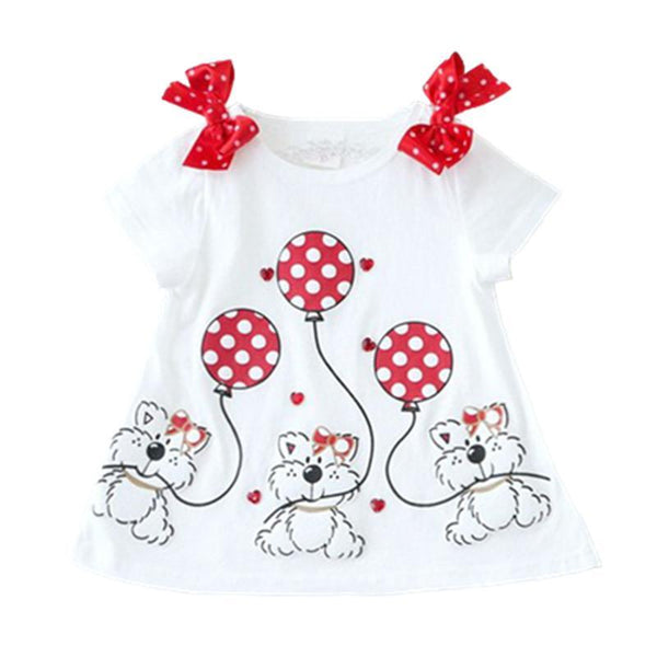 Baby girls T-shirt summer style shortsleeve cute bear t-shirt for girl tops shirt kids children outwear baby brand clothes 2-7Y