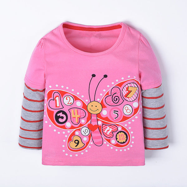 new designed baby girls long sleeve t shirt kids cute cartoon t shirt with printed a lovely butterfly top quality t shirt