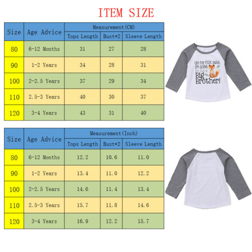 Long Sleeve T-shirt Newborn Infant Baby Boys Clothes Big Brother Tops Cotton Clothes