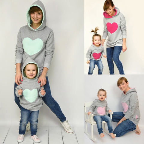New Style Family Matching Clothes Mother Daughter Hearts Hoodie Sweatshirt Hoody Long Sleeve Cotton Casual Autumn Winter Clothes