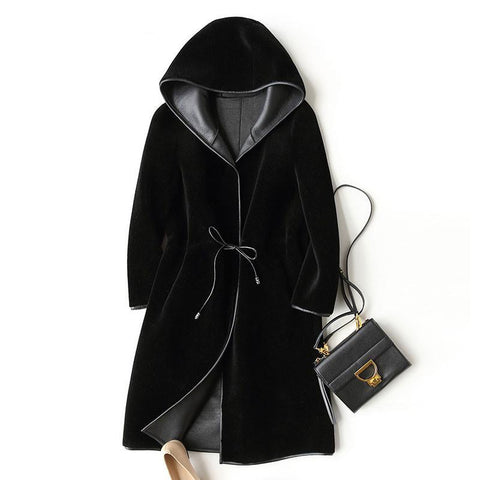New Wool Real Fur Coat For Women Winter Sheep Jackets And Coats Long Hooded PU Leather Lining Overcoat WYQ757