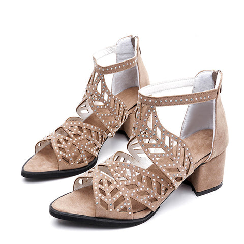 New Women Sandals Fashion Elegant Party Shoes Zip Mid Square Cover Heel Platform Summer Sandals Women Sequined Shoes