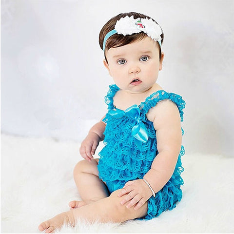 Baby Girls Clothes Baby Blue Ruffled Lace Romper Toddler Kids Jumpsuit New Born Baby 1th Birthday Photo Outfit