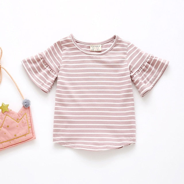 Butterfly Sleeve Casual T Shirt Striped O Neck Summer T-shirt Girl Kids Children Clothes Tee Shirts Tops Cute Toddler Baby 0-4Y