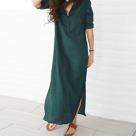 c3b5c9b6de5 Pregnant Clothes Summer Pregnancy Women Maxi Long Dress Casual Loose Long  Sleeve Split Hem Maternity Vestidos