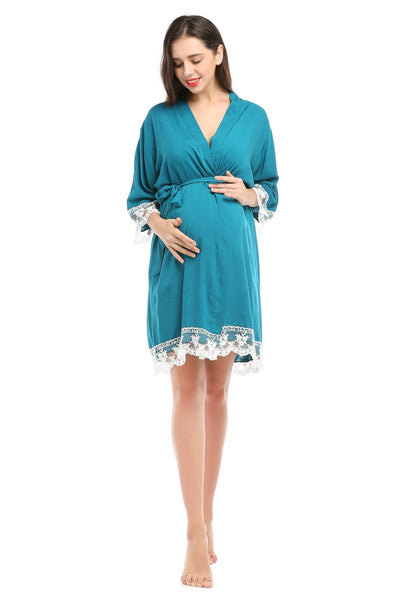 Pregnant Women Pajamas Solid Dress Cotton Lace Bathrobe Knee-length Ladies Maternity Pajamas Summer Home Wear Sleep Wear