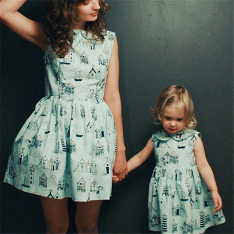 Mother Daughter Dresses Summer Family Matching Dress 2018 Parent-child Short Sleeve Dresses Mother Daughter Clothes Family Look