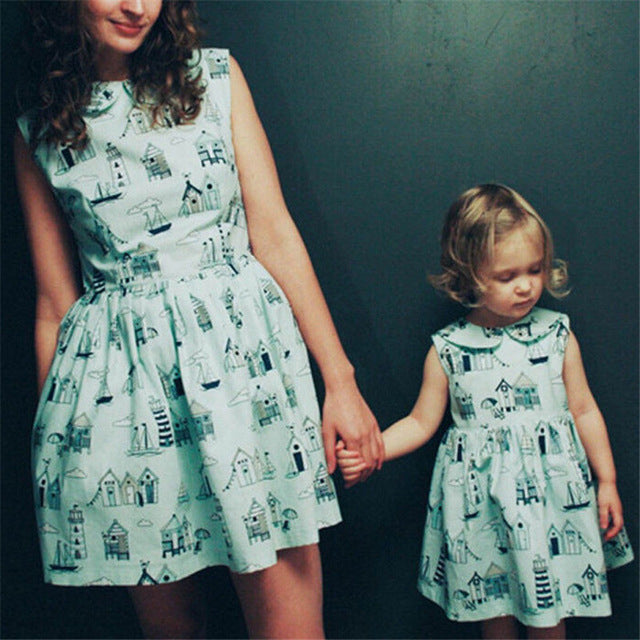 58f5ad723ab Mother Daughter Dresses Summer Family Matching Dress 2018 Parent-child