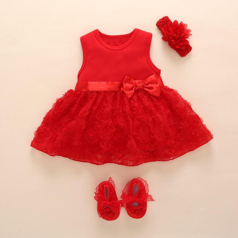 87e382907 New Born Baby Girls Infant Dress clothes Summer Kids Party Birthday Outfits  1-2years Shoes Set ...