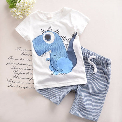 Brand Boys Clothing Children Summer Boys Clothes Cartoon Kids Boy Clothing Set T-shirt+Pants Cotton Clothing Set