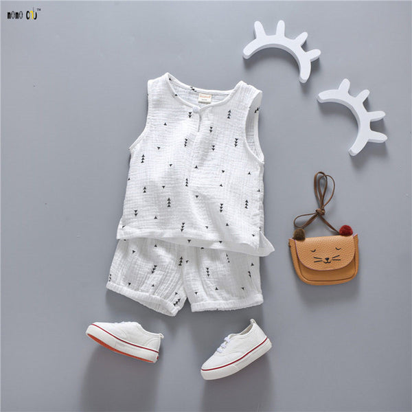 Boys Summer Clothes Sets T Shirt & Shorts Casual Sleeveless Print Cotton Sports Suit For Baby Kids Outfit 1 2 3 4 5 Years