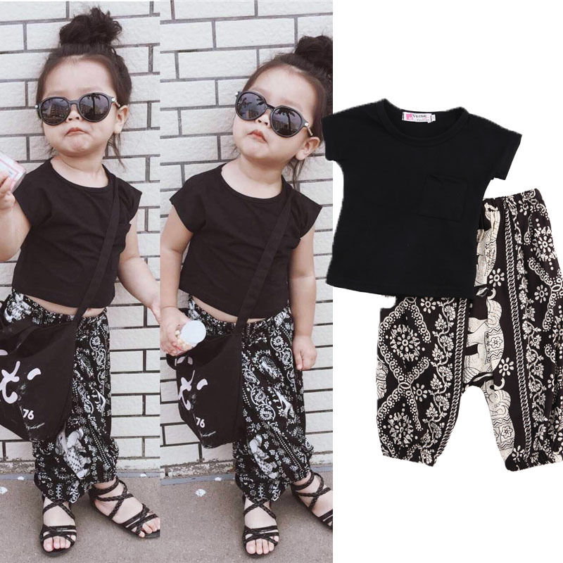 2PCS Summer Fashion Casual Toddler Baby Girls Boys Sets Short Sleeve Solid Black T-Shirts Tops Pattern Print Harem Pants 0-5Y