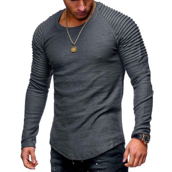 Fashion Men Bodybuilding Casual Fitness Long Sleeve Shirt Solid Pleated on Shoulder O-Neck Spring&Summer T Shirt Men Tops