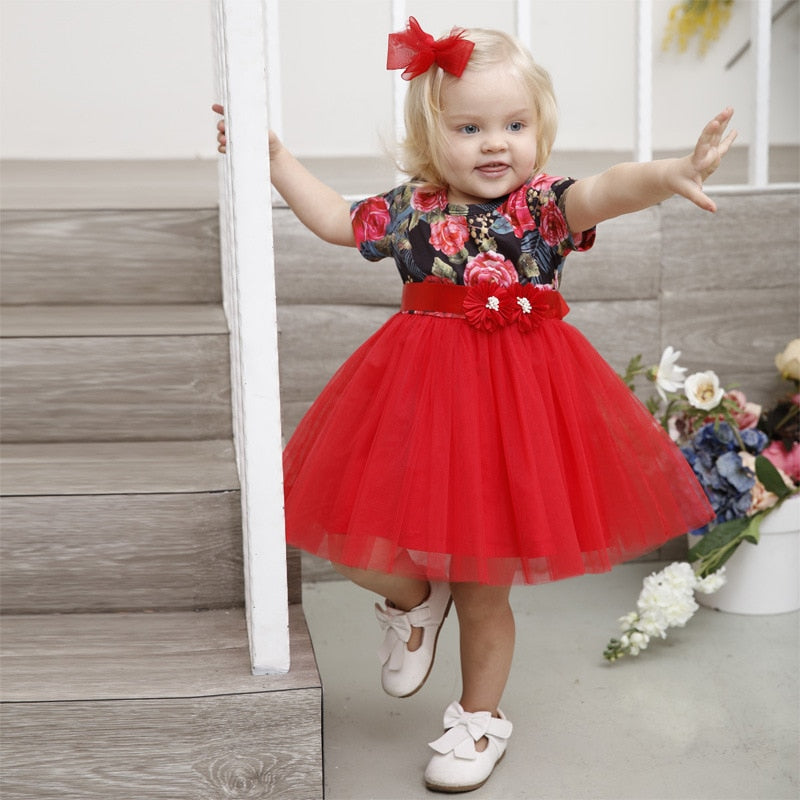 Summer Cute Dress Party Flower Baby Girls Dress New Beautiful Toddler Baptism Dresses For Newborn Infant 3 4 Year Birthday