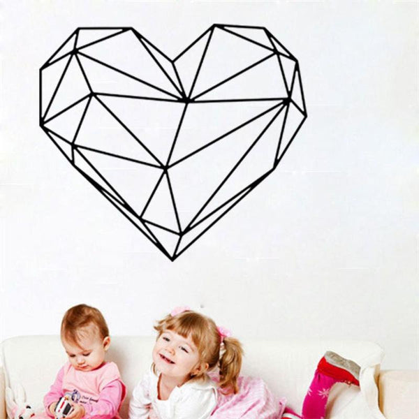 Geometric Heart Wall Sticker Art Decal Removable Creative Nordic Style Mural Room Home Decor DIY Poster Stickers
