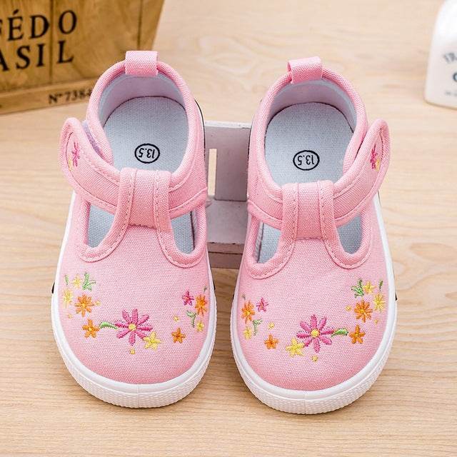Children Girls New Causal Canvas shoes Baby Girls Hook Breathable embroidery Flower Shoes Tolddlers Chaussure Enfant Sneakers