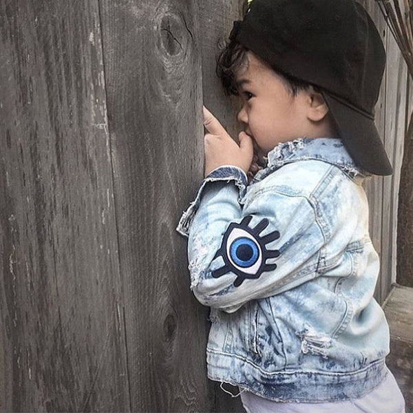Baby Girls Denim Coats Vintage Jeans Jackets for Girl Toddler Denim Jackets Big Eyes Embroidery Kids Boys Denim Jacket Outerwear
