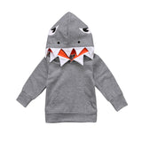 Autumn Winter Kids Outwear Toddler Kids Boys Shark Gray Long sleeve Hooded Sweatshirt Tops Hoodie Jacket Coat Casual 1-6T