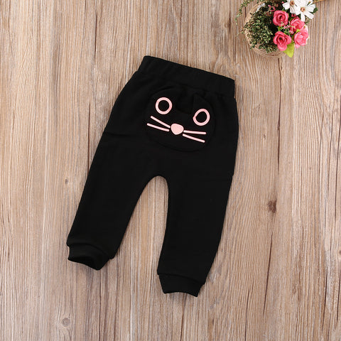 Cute Cat Kitten Baby Kids Boys Girls Trousers Harem Pants Bottoms Clothes 3-24M