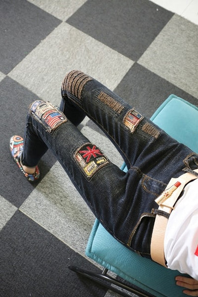New Autumn Fashion Patch Cartoon Mickey Hole Denim Pants Slim Women Long Trousers Ankle-length Female Pencil Jeans