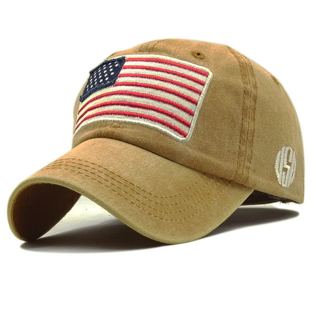 USA Flag Washed Baseball Cap Men Women Denim Letter Snapback Hat Bone Embroidery America Hip Hop Trucker Cap Gorras