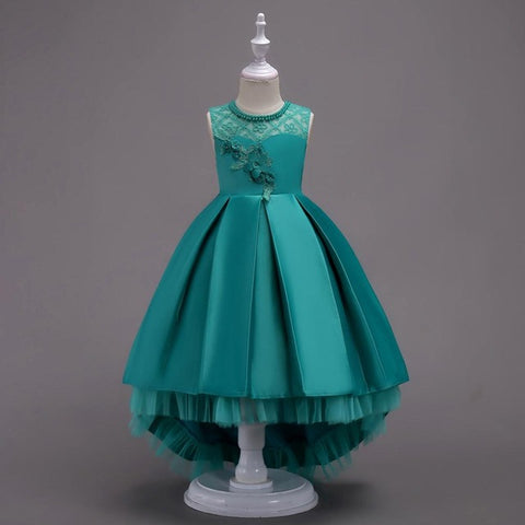 Pretty High Low Satin Flower Girl Dresses 6 Colors Beaded Appliqued Dresses For Girls Kids Prom Dresses vestido daminha