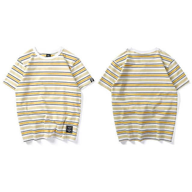 Stripe T Shirt Men Casual T-Shirt Short Sleeve Summer Hip Hop T Shirt Streetwear Casual Tops Tees Black White Green
