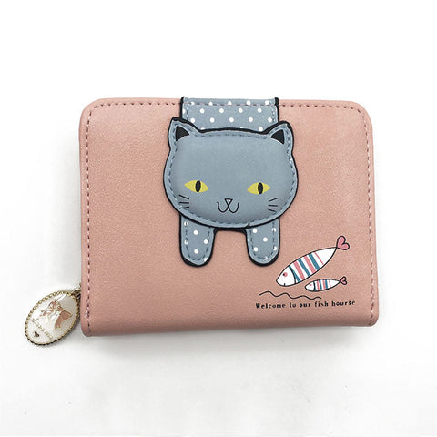 Women cute cat wallets and purses small zipper girl wallet brand designed pu leather women coin purse female card holder wallet