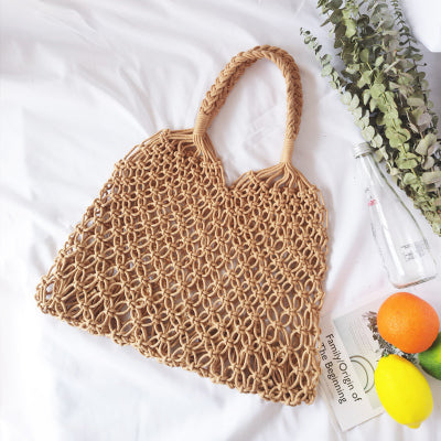 Fashion Popular Woven Bag Mesh Rope Weaving Tie Buckle Reticulate Hollow Straw Bag No Lined Net Shoulder Bag