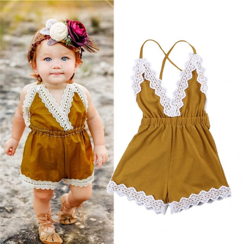 New Rose Floral Printed Cotton Baby Rompers Vintage Baby Girl Romper Lace Floral Overalls for Children Baby Clothes