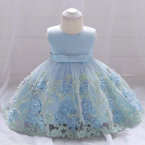 Blue Flowers Baby 1st Birthday Dress Newborn Girls Christening Gowns Baby Girls 2 Years Anniversary Party Dress Infant Dresses
