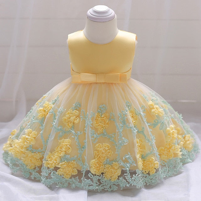 d6f2c409dc Blue Flowers Baby 1st Birthday Dress Newborn Girls Christening Gowns Baby  Girls 2 Years Anniversary Party Dress Infant Dresses