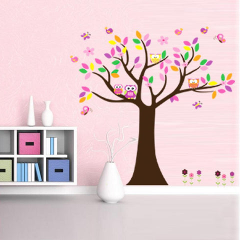 Cartoon Animal Colorful PVC New Wall Stickers for Kids Room Owl Tree Decal Large Original size 60*90CM