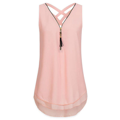 Women Tops 2018 Summer Sleeveless Blusas Zipper Criss Cross Chiffon Shirt Fashion V-Neck Blouse WS7080X