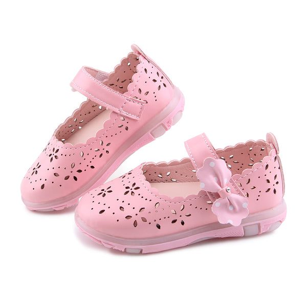 Summer Baby Girl Sandals Bowtie Children Shoes PU Leather Small Kids Sandals Princess Girls Shoes LED Light Glowing Toddler