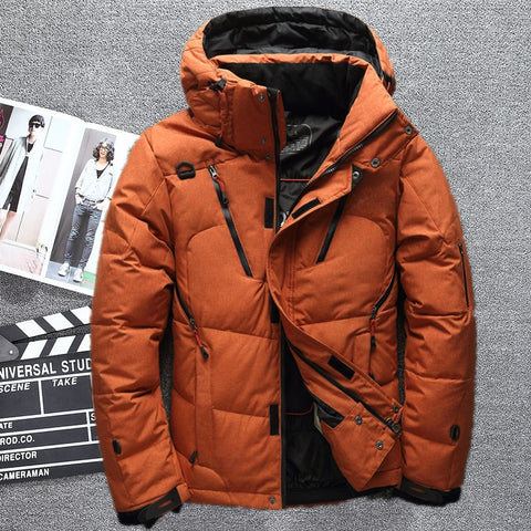 0a75a104c99 Winter Thicken Warm White Duck Down Jacket Men Outwear Snow Parkas Hooded  Coat Male Casual Thermal