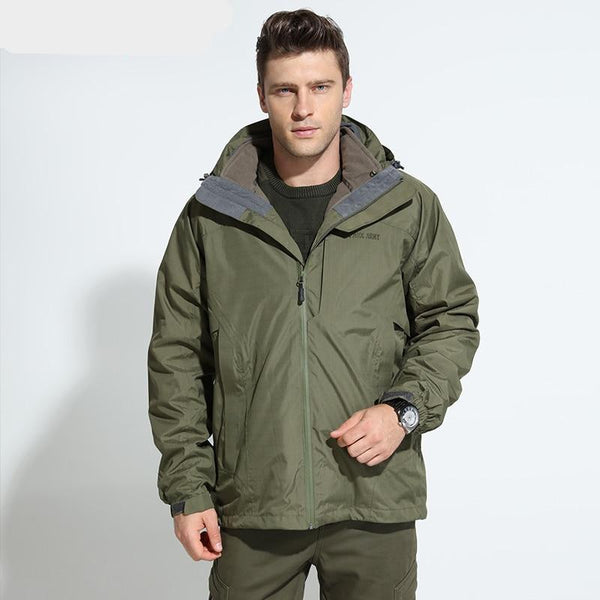 Men Waterproof Jackets Detachable Lining Winter Warm Fleece Jacket Hooded Windbreakers Large Size Men's Jackets Cy85027