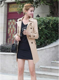 Spring Autumn New Female Double Breasted Coat Long Section Slim Thin Women Trench Coat Loose Casual Windproof with belt