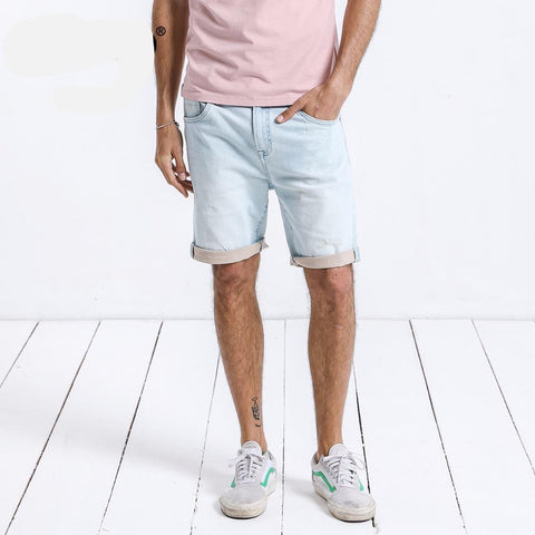 7f3a92f60b03a New Fashion Summer Denim Shorts Casual Slim Fit Knee Length Casual Cotton  Straight Brand Clothing 180171