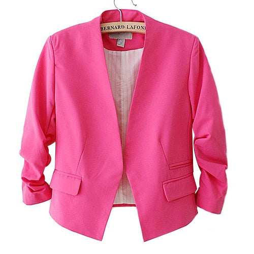 Top Quality Women's Candy Color Solid Slim Suit Blazer Jacket 5AXG 7EY9 7N8L