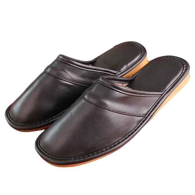 Winter New Men Leather Cotton Slippers