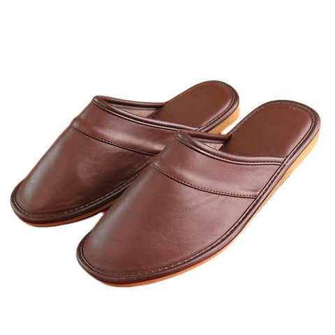 Winter New Men Leather Cotton Slippers PU Short Plush Oxford Home Slippers Mens Waterproof Indoor Casual Warm Shoes