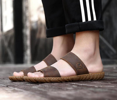 Brown Men Slippers Big Size 45 46 47 Genuine Leather Outdoor Mens Flip Flops Fashion Beach Sandals Shoes For Men 6619