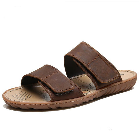 Leather Men Slippers 2018 Plus Size Fashion Casual Summer Waterproof Beach Shoes Flat Sandals Slides Male Footwear ZS616N