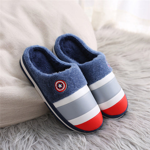 New winter men's slippers thick plush PU indoor and outdoor non-slip wear-resistant padded warm home lovers cotton slippers