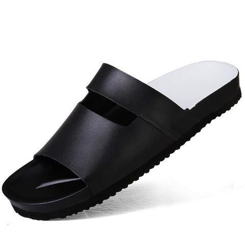 Summer men's Slippers,leisure fashion Beach shoes,Rubber sole Non-slip Peep Toe sandals.Sandalia DE cuero DE los hombres