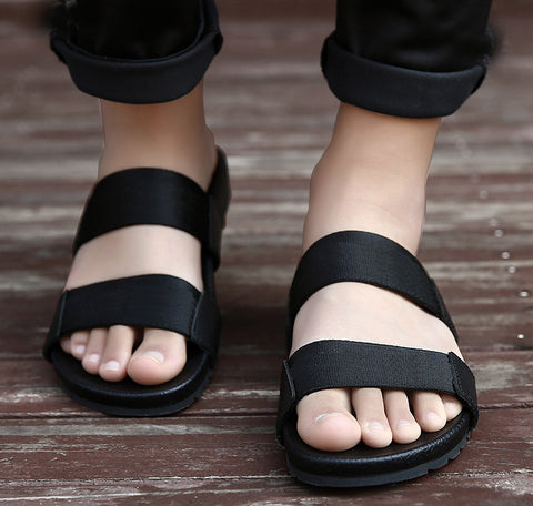 Casual Genuine Leather Beach Men's Slippers Black Cow Leather Man Slides Flip Flops Rubber Summer Men slippers  16518