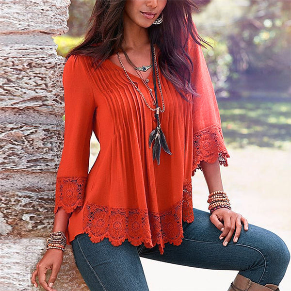 Peplum Lace Blouse Womens Ruffle Boho Tops Femme Ladies Long Office Shirt 2018 Summer Sexy Female Tops Blouses