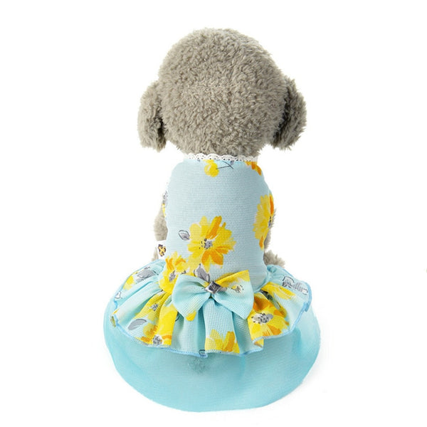 Spring/Summer Dog Dress Bowknot Floral Princess Skirt XS-XL Clothes For Dogs For Small Dogs Cats Pet Supplies Wholesale noJA2